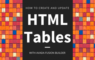 How to build and edit an HTML table with avada fusion builder
